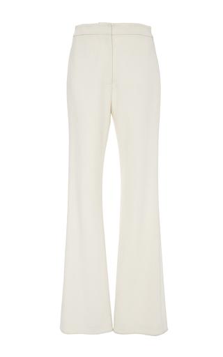 Medium sally lapointe off white cream bonded crepe classic trouser