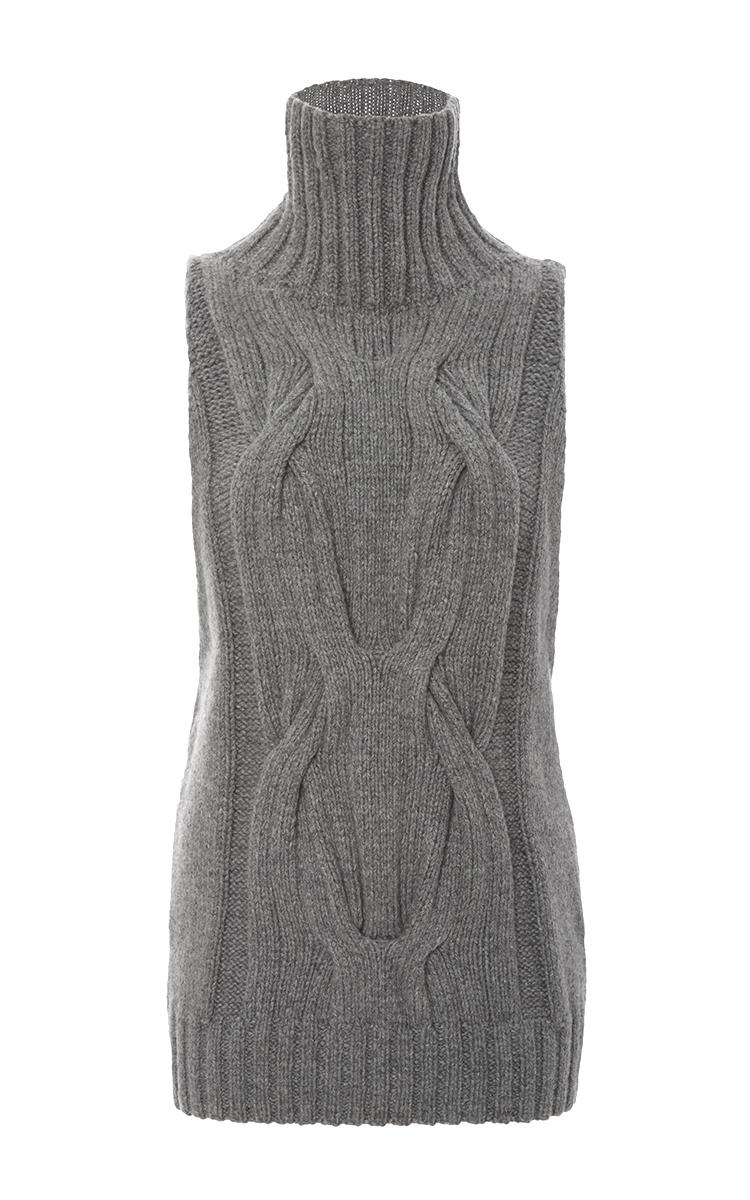 Cashmere Cableknit Sleeveless Turtleneck Sweater By Moda Operandi