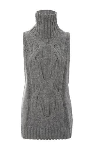 Medium sally lapointe light grey cashmere cableknit sleeveless turtleneck sweater