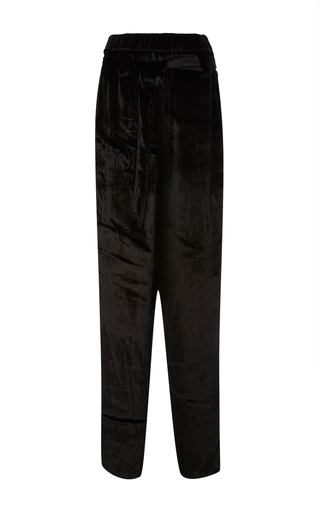 Medium sally lapointe black plush velvet parachute pants