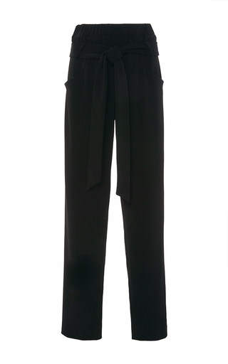 Medium sally lapointe black stretch crepe parachute pants