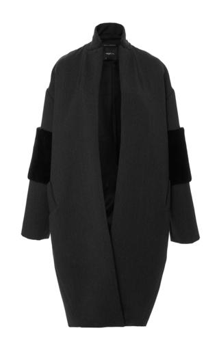 Medium sally lapointe dark grey rabbit fur trimmed wool cocoon coat