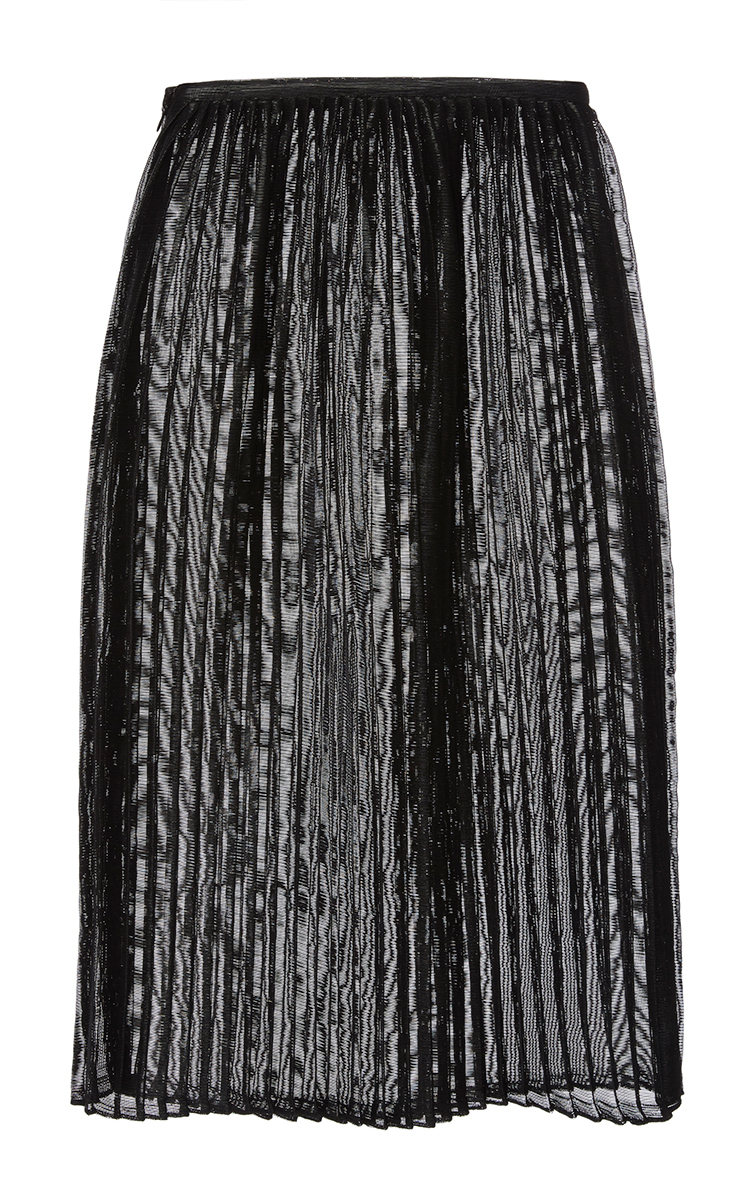 black woven vinyl pleated midi skirt by sally lapointe
