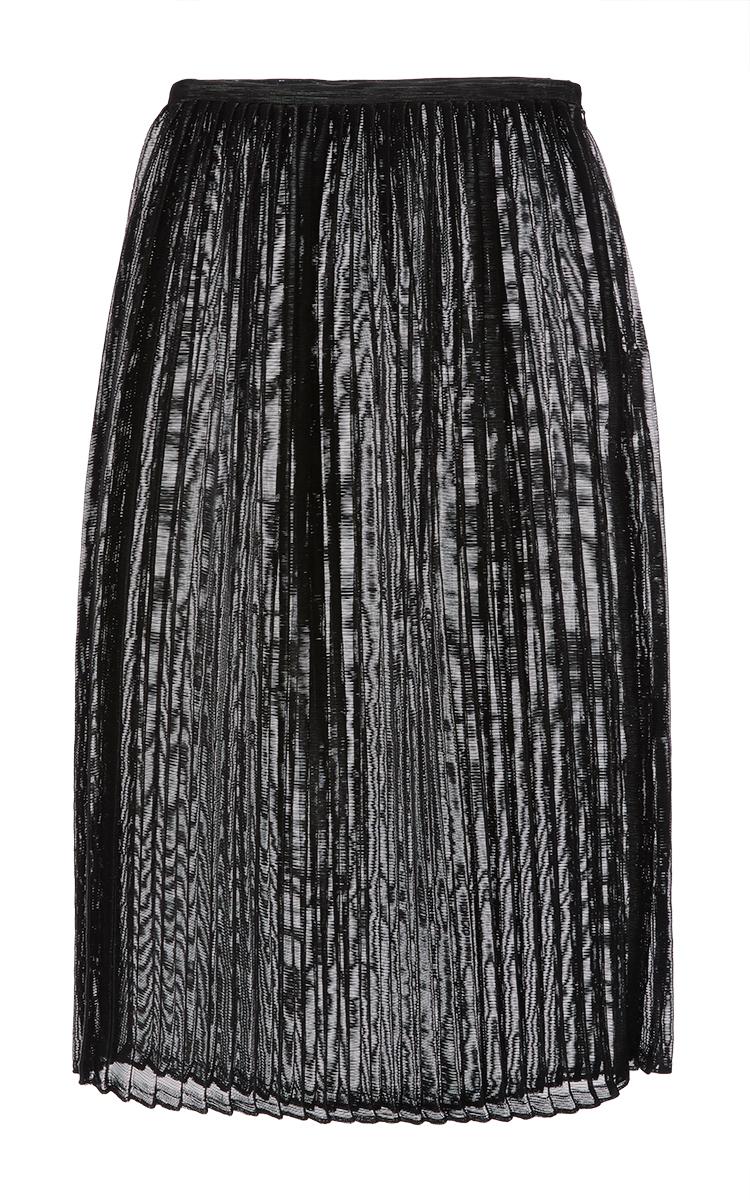 e26a9e4b8921 Black Woven Vinyl Pleated Midi Skirt by Sally LaPointe | Moda Operandi