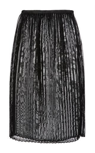 Medium sally lapointe metallic black woven vinyl pleated midi skirt