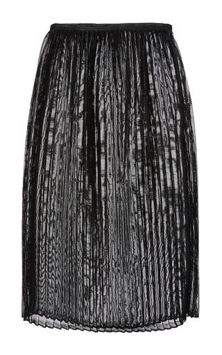 Medium sally lapointe metallic black woven vinyl pleated midi skirt