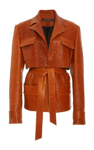 Medium sally lapointe burgundy crackled leather cargo jacket