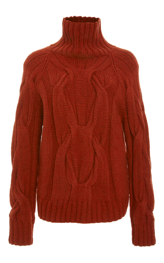 Medium sally lapointe brown rust cashmere cableknit turtleneck sweater