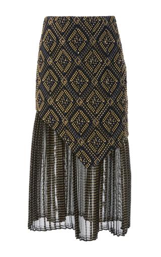 Medium sally lapointe metallic diamond jacquard asymmetric midi skirt