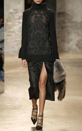 Medium sally lapointe black embroidered lace silk cashmere turtleneck sweater