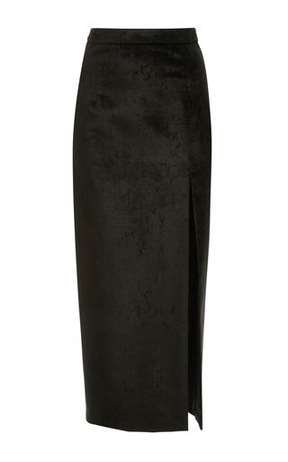 Medium sally lapointe black stretch velvet high slit pencil skirt