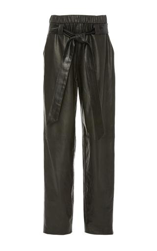 Medium sally lapointe black stretch leather parachute pant