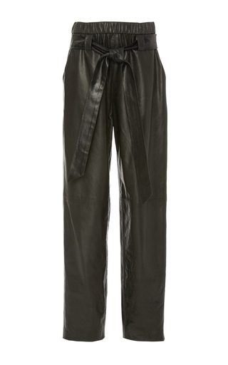 Medium sally lapointe black stretch leather parachute pant