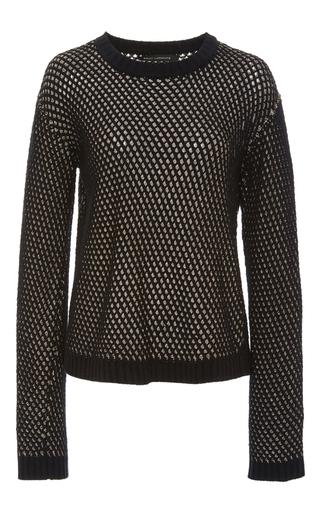 Medium sally lapointe metallic silk cashmere chainmail sweater