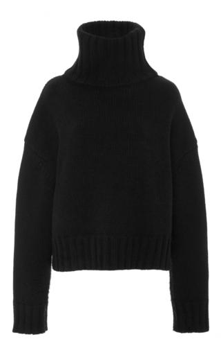 Medium sally lapointe black cashmere wool blend turtleneck sweater