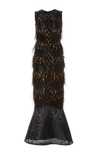 Medium sally lapointe black embroidered tortoise feather gown