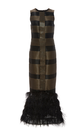 Medium sally lapointe black sculpted sleeveless ostrich feather dress