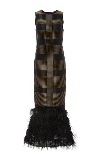 Medium sally lapointe black sculpted sleeveless ostrich feather dress