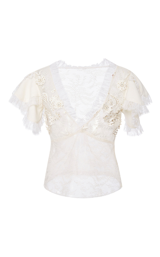 Medium rodarte white white laser cut lace blouse