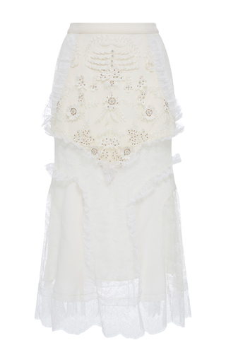 Medium rodarte white white laser cut lace skirt