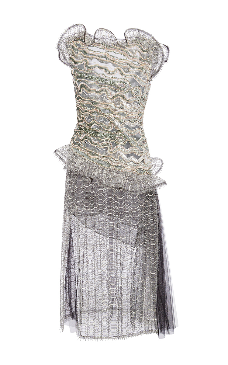 Visit New Sale Online Buy Cheap Outlet Store Metallic Ruffled Lace Dress Rodarte Clearance Find Great rvYefThOg
