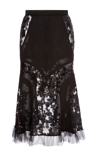 Medium rodarte black sequin embellished tulle and wool skirt