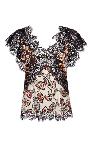 Medium rodarte black silk floral blouse