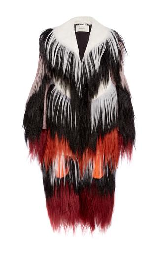 Medium rodarte black black and burgundy goat hair coat