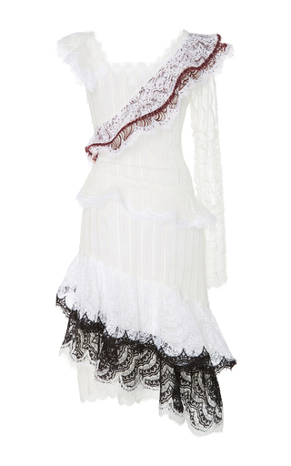 Medium rodarte white single sleeve asymmetrical ruffle dress
