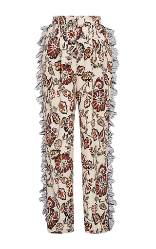 Medium rodarte floral white and burgundy silk floral ruffle trousers