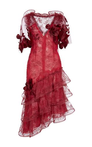 Medium rodarte red sleeveless rose embellished lace dress