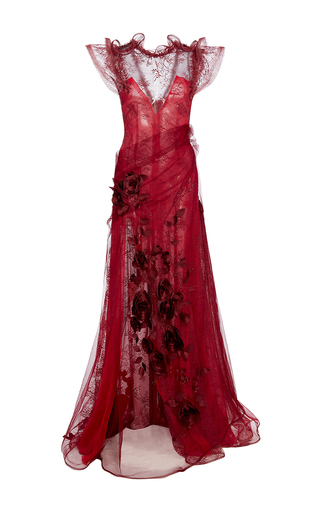 Medium rodarte red chiffon and lace rose embellished gown