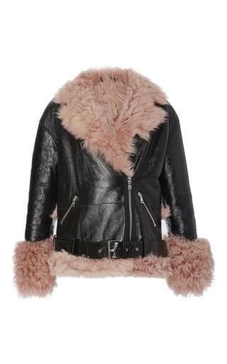 Medium sandy liang black bowery petal pink shearling leather jacket