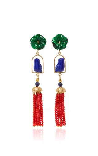 Medium of rare origin multi malachite swingers earring
