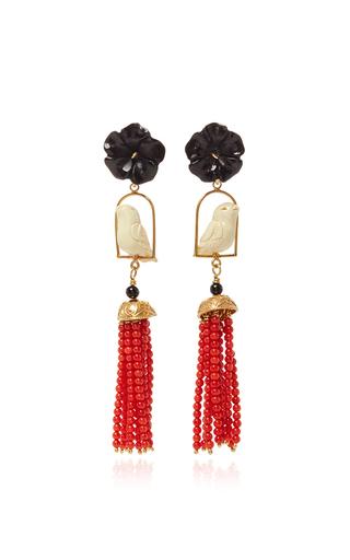 Medium of rare origin coral black swingers earring