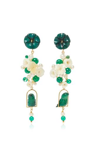Medium of rare origin green jade nesters earring