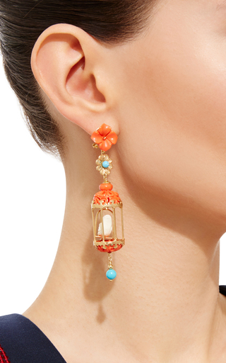 Of Rare Origin Aviary Lovebird Coral & Agate Birdcage Earrings 3LaqQf
