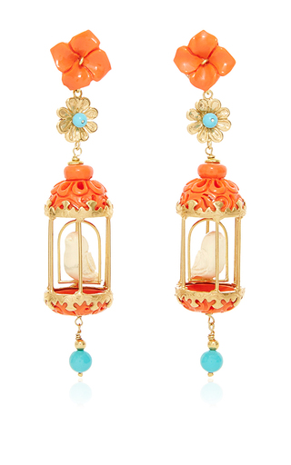 Medium of rare origin multi coral aviary earring