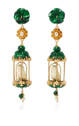 Medium of rare origin green malachite aviary classic earring