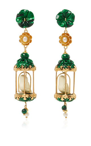 Medium of rare origin green malachite aviary classic earring