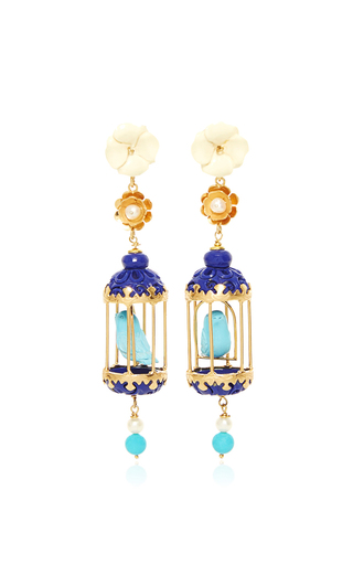 Medium of rare origin blue turquoise aviary classic earring