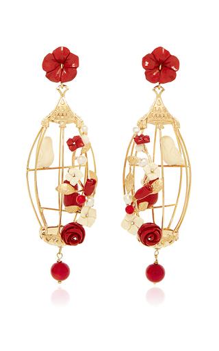 Medium of rare origin red ruby lovebird earrings