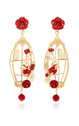 Medium of rare origin red ruby lovebird earrings