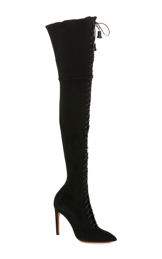 Medium santoni black lace up over the knee boot