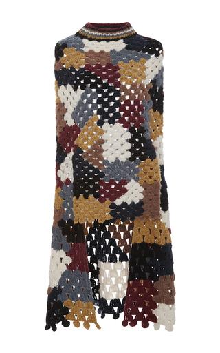 Medium rosetta getty multi chunky alpaca patchwork crochet poncho