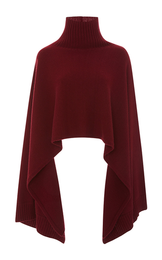 Medium rosetta getty burgundy cashmere merino turtleneck cape sweater