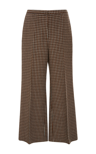 Medium rosetta getty plaid checkered wool cropped straight flare trousers