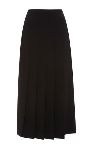 Medium rosetta getty black fluid stretch wool gabardine pleated skirt