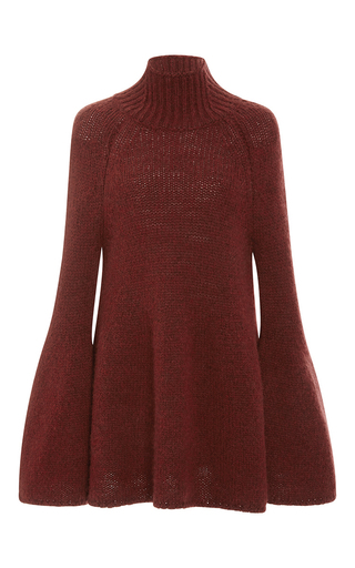 Medium rosetta getty burgundy bordeaux chunky alpaca bell sleeve turtleneck