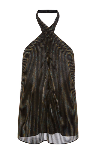 Medium rosetta getty black iridescent lurex mesh wrap neck halter top